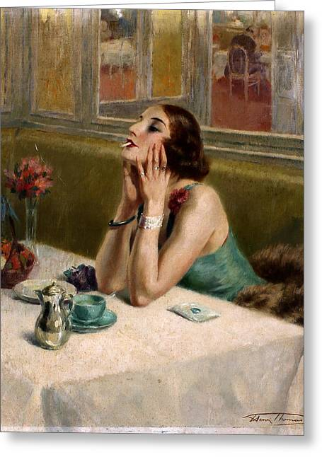 Prostitution Paintings Greeting Cards - Woman with a Cigarette Greeting Card by Henri Thomas