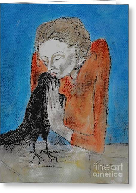 Old Masters Greeting Cards - Woman with a crow Greeting Card by P J Lewis