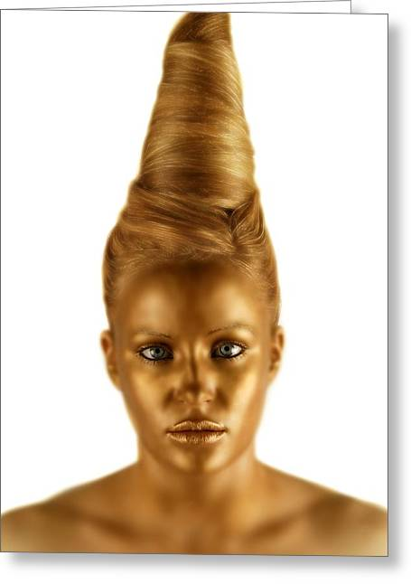 Statue Portrait Greeting Cards - Woman With A Golden Face Greeting Card by Darren Greenwood