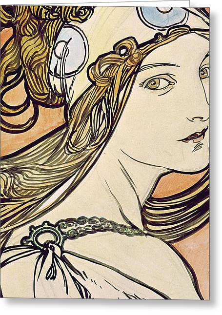 Twentieth Century Greeting Cards - Woman with a Headscarf Greeting Card by Alphonse Marie Mucha