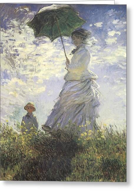 Summer Scene Greeting Cards - Woman with a Parasol Greeting Card by Claude Monet
