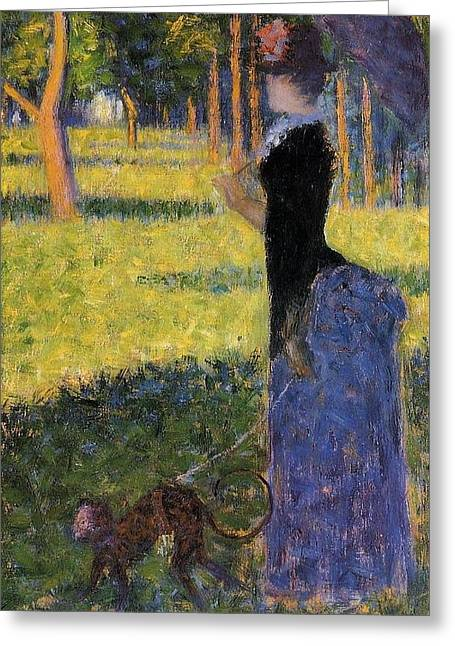 Seurat Greeting Cards - Woman with a Parasol Greeting Card by Georges Seurat