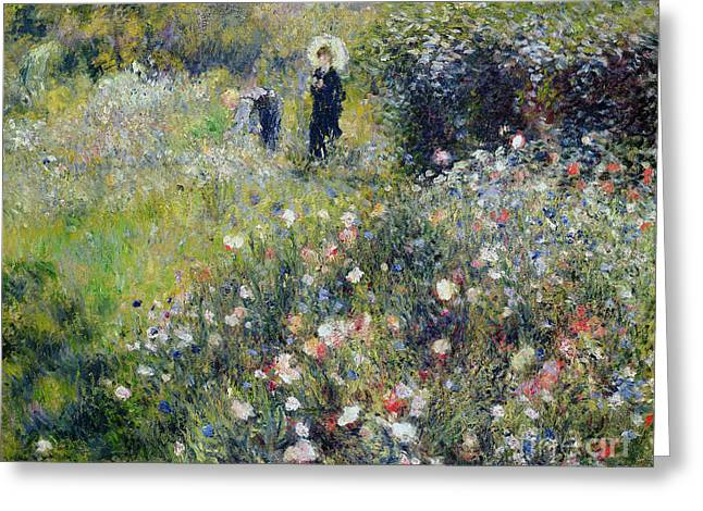 Picking Greeting Cards - Woman With A Parasol In A Garden, 1875 Oil On Canvas Greeting Card by Pierre Auguste Renoir