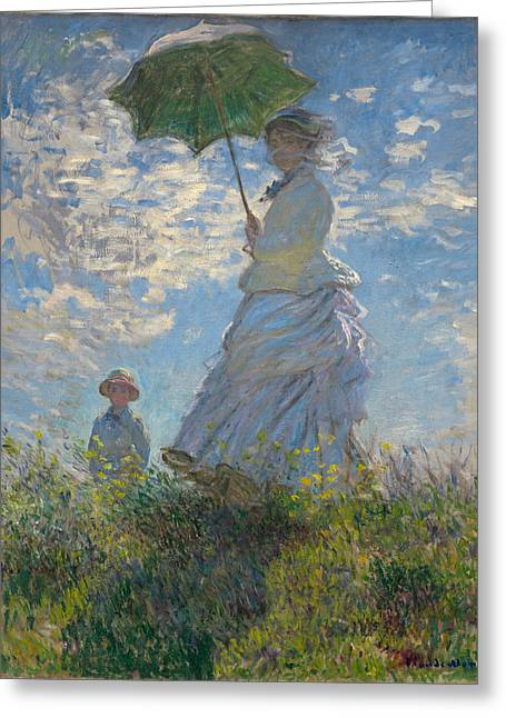 Monet Lady Greeting Cards - Woman with a Parasol Madame Monet and Her Son  Greeting Card by Nomad Art And  Design