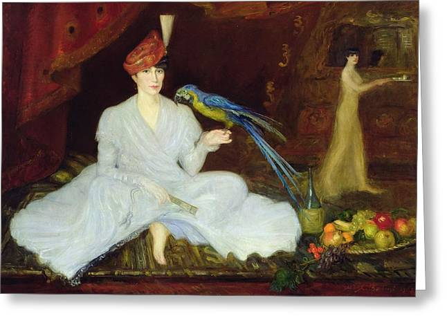 Bird Bottle Greeting Cards - Woman With A Parrot, 1905 Oil On Canvas Greeting Card by Georges Bottini