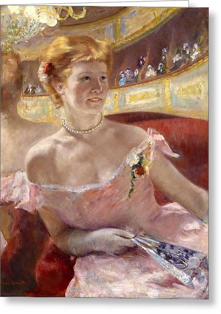 Cassatt Paintings Greeting Cards - Woman with a Pearl Necklace in a Loge Greeting Card by Mary Stevenson Cassatt