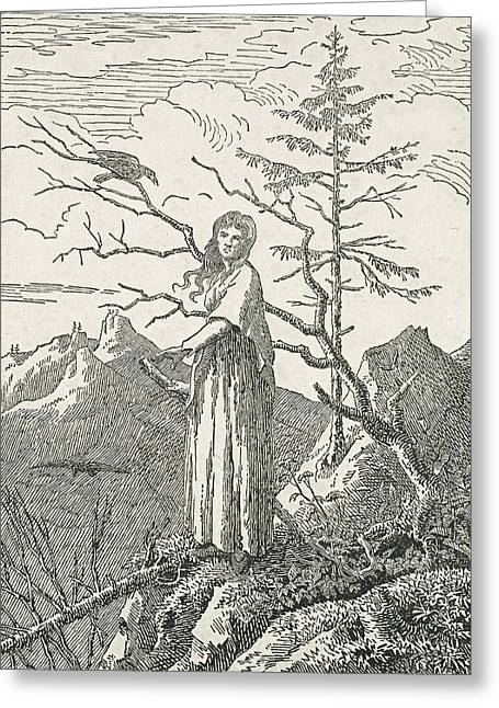 Canvas Crows Greeting Cards - Woman with a Raven on the Edge of a Precipice Greeting Card by Caspar David Friedrich