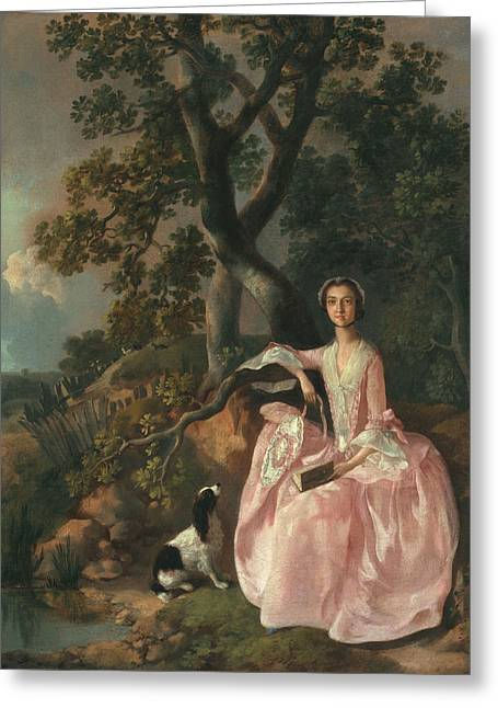 Crinoline Greeting Cards - Woman With A Spaniel, C.1749 Greeting Card by Thomas Gainsborough