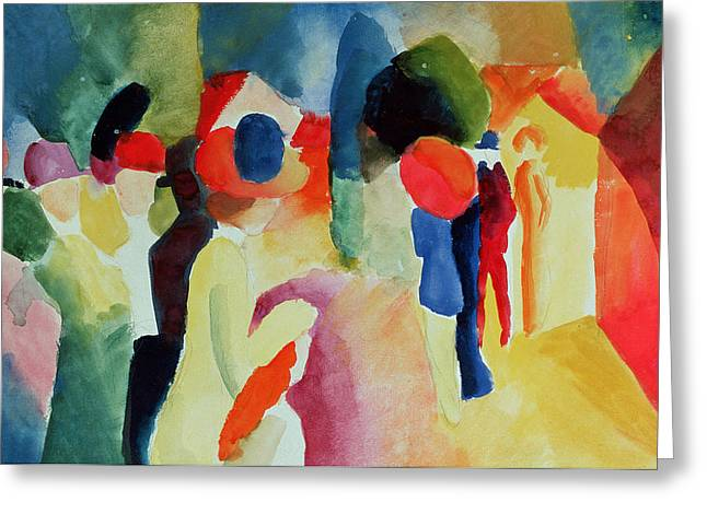 Expressionist Greeting Cards - Woman With A Yellow Jacket, 1913 Watercolour Greeting Card by August Macke