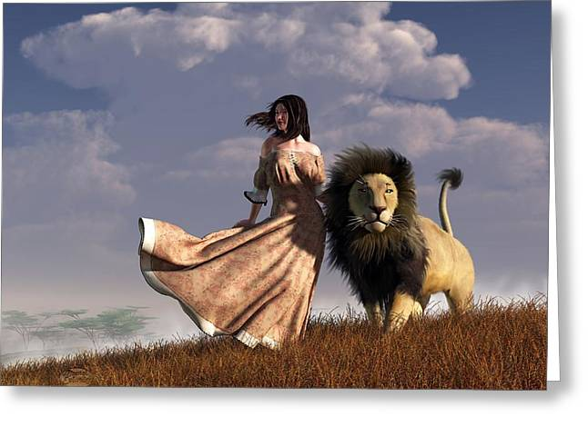 Girl And Animals Greeting Cards - Woman With African Lion Greeting Card by Daniel Eskridge