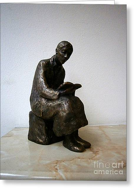 Book Sculptures Greeting Cards - Woman with book Greeting Card by Nikola Litchkov