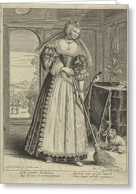 Woman With Broom In An Interior, Theodor Matham Greeting Card by Theodor Matham And C. David