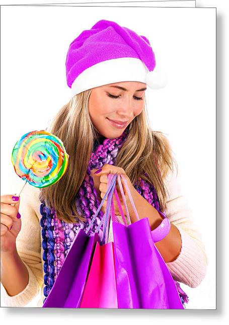 Sweetmeats Greeting Cards - Woman with Chrismas bag Greeting Card by Anna Omelchenko