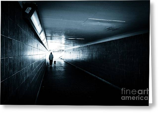 Doggy-style Greeting Cards - Woman with dog walking through ols tiled underpass. Greeting Card by Peter Noyce