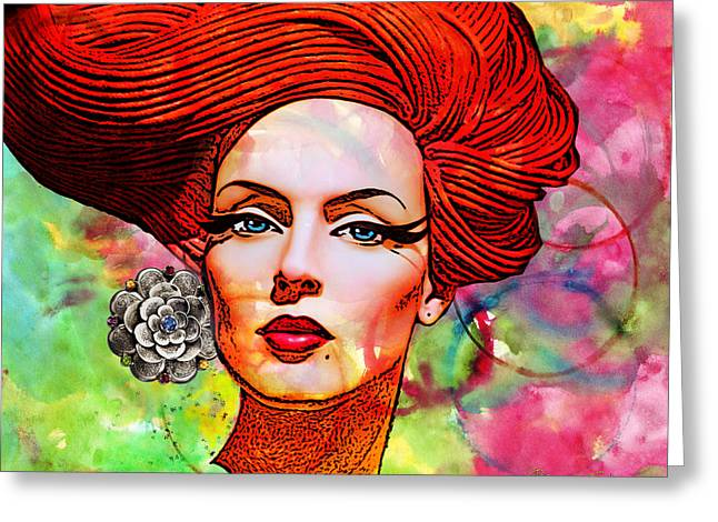 Seller Mixed Media Greeting Cards - Woman With Earring Greeting Card by Chuck Staley