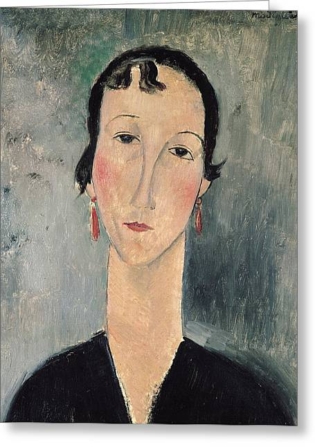 Clemente Paintings Greeting Cards - Woman with Earrings Greeting Card by Amedeo Modigliani