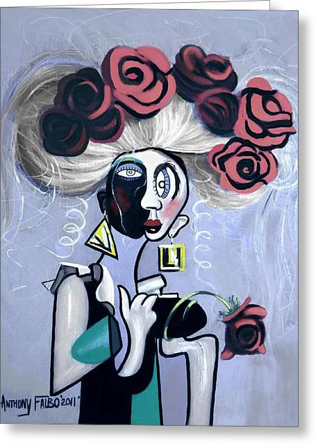 Women With Roses Greeting Cards - Woman With Fake Hair And Roses Greeting Card by Anthony Falbo
