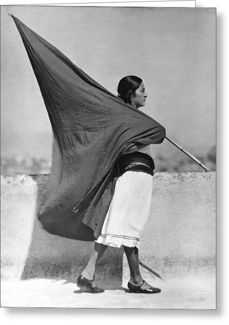 Oppression Greeting Cards - Woman With Flag, Mexico City, 1928 Greeting Card by Tina Modotti