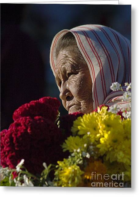 Mexicano Greeting Cards - Woman With Flowers - Day Of The Dead Mexico Greeting Card by Craig Lovell