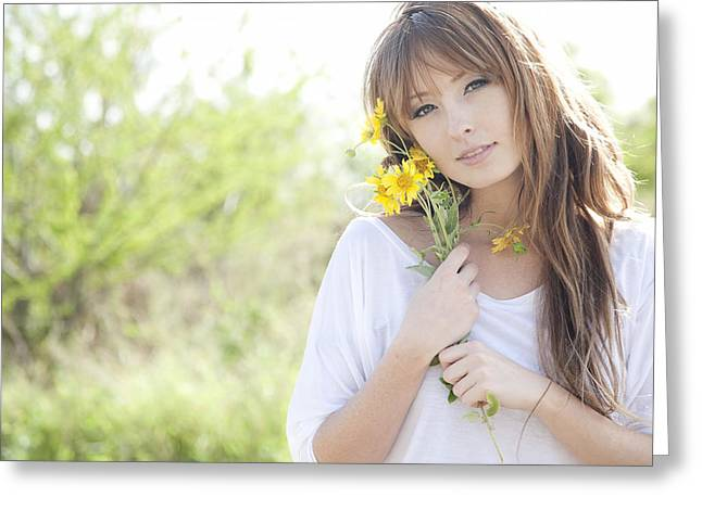 Youthful Photographs Greeting Cards - Woman with Flowers Greeting Card by Brandon Tabiolo