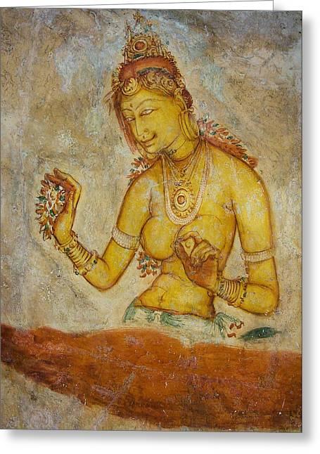 Sacred Body Greeting Cards - Woman with Flowers. Sigiriya Cave Fresco Greeting Card by Jenny Rainbow