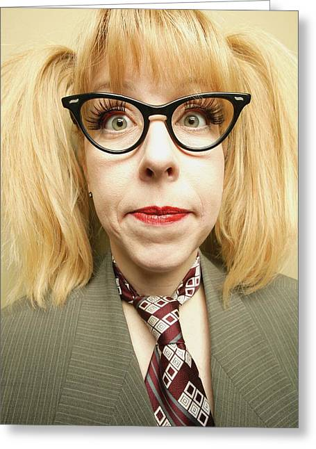 Bold Style Photographs Greeting Cards - Woman With Glasses Greeting Card by Darren Greenwood