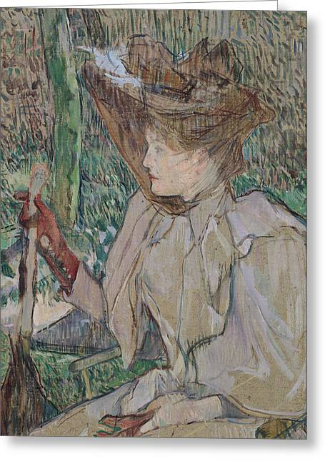 Gloves Drawings Greeting Cards - Woman with Gloves Greeting Card by Henri de Toulouse-Lautrec