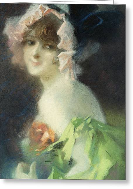 Portrait With Flowers Greeting Cards - Woman with Gloves Greeting Card by Jules Cheret