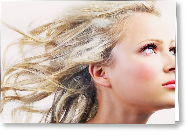 Breezy Greeting Cards - Woman With Hair Blowing In The Wind Greeting Card by Darren Greenwood
