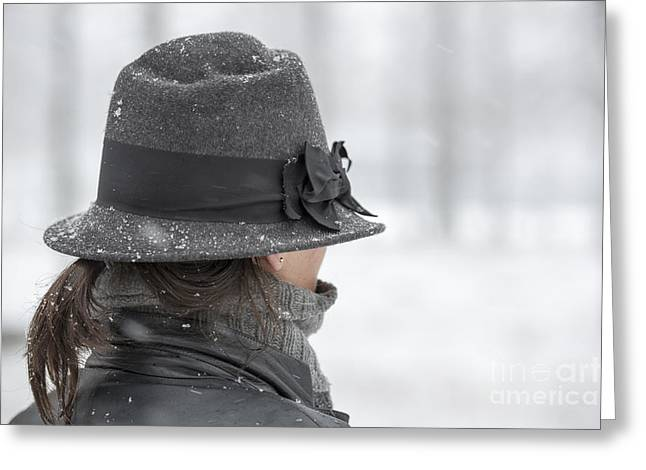 Gray Hair Greeting Cards - Woman with hat Greeting Card by Mats Silvan