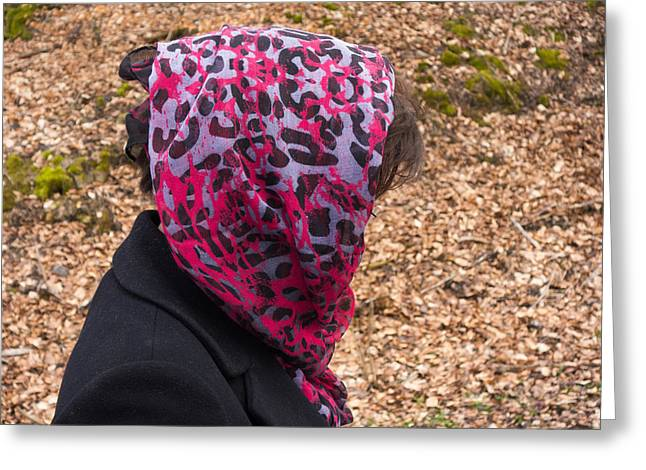 Quirky Greeting Cards - Woman with headscarf in the forest - quirky and surreal Greeting Card by Matthias Hauser