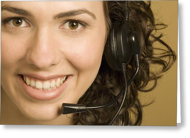 Business Woman Greeting Cards - Woman With Headset Greeting Card by Darren Greenwood