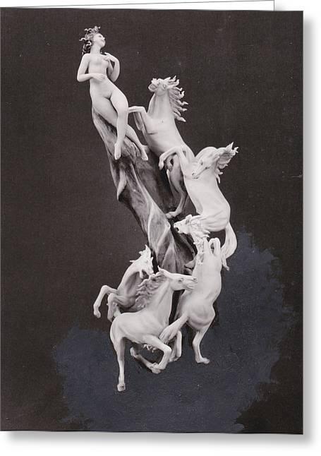 Animal Ceramics Greeting Cards - Woman with Horses Greeting Card by Allan Koskela