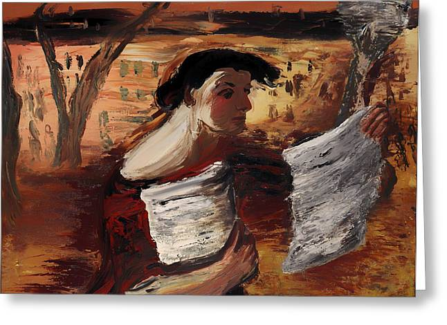 Flyer Paintings Greeting Cards - Woman with Leaflets  Greeting Card by Aleksandrs Drevins