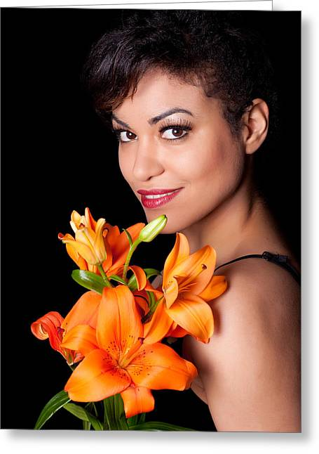 Brown Eyed Girl Greeting Cards - Woman With Lily Flowers Greeting Card by Artur Bogacki