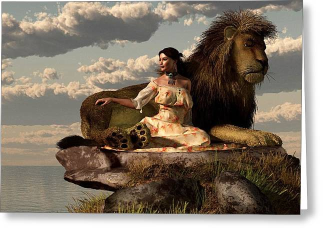 Beauty And The Beast Greeting Cards - Woman With Lion Greeting Card by Daniel Eskridge