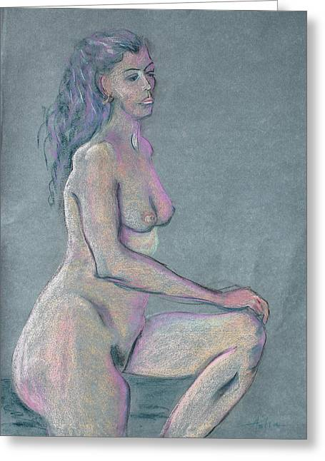 Hair Pulled Back Greeting Cards - Woman with Long Dark Hair in Purple Greeting Card by Asha Carolyn Young