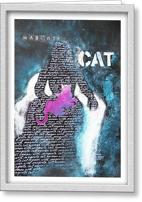 Pictures Of Cats Greeting Cards - Woman with Magenta Cat Greeting Card by Eve Riser Roberts