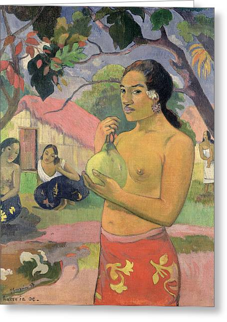 Mango Paintings Greeting Cards - Woman with Mango Greeting Card by Paul Gauguin