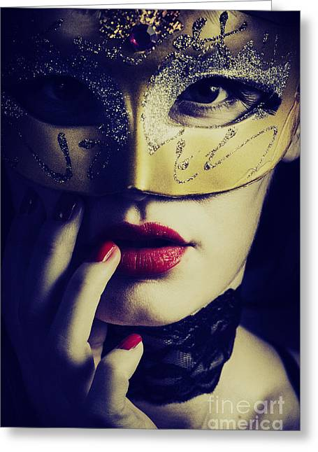 Mask Greeting Cards - Woman with mask Greeting Card by Jelena Jovanovic