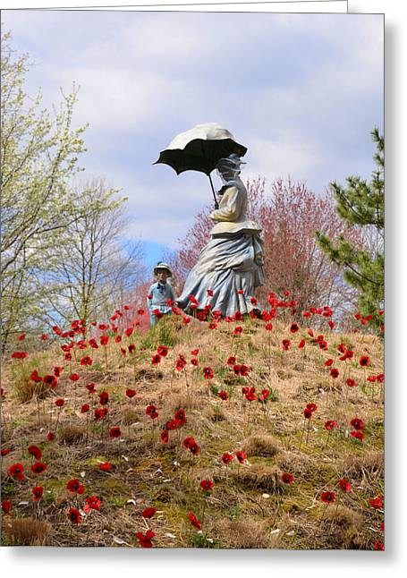 Women With Roses Greeting Cards - Woman with Parasol and Child Greeting Card by Bill Cannon