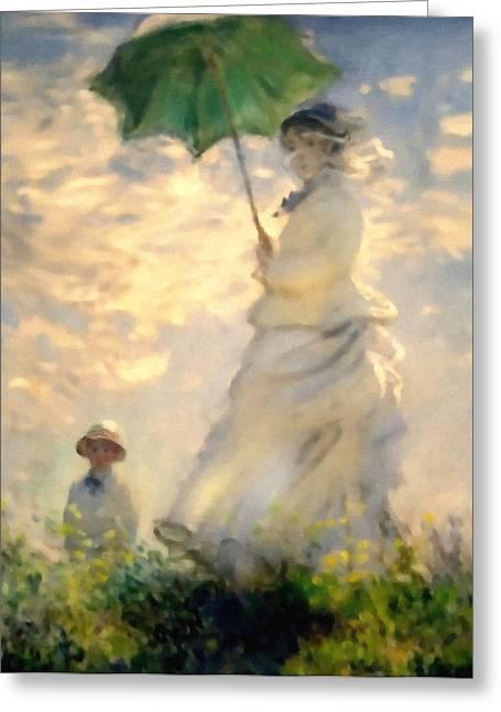 Monet Lady Greeting Cards - Woman With Parasol Dedication Greeting Card by Georgiana Romanovna