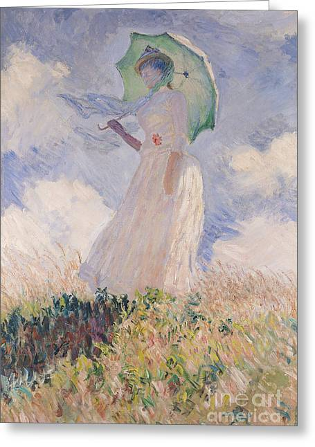 Clouds Posters Greeting Cards - Woman with Parasol turned to the Left Greeting Card by Claude Monet