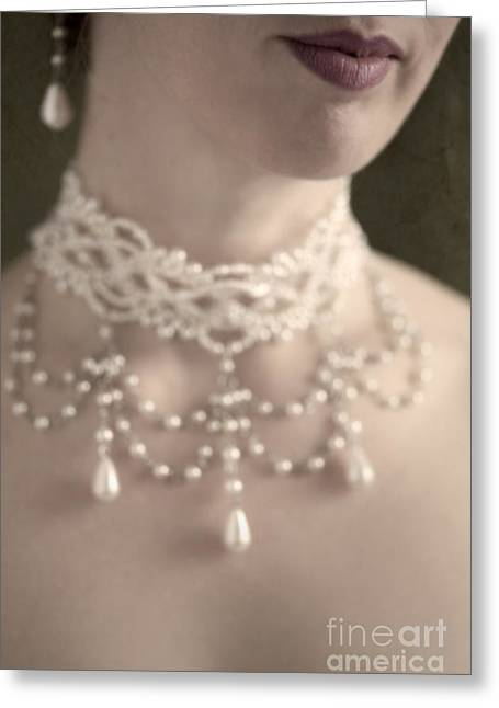 Woman With Pearl Choker Necklace Greeting Card by Lee Avison