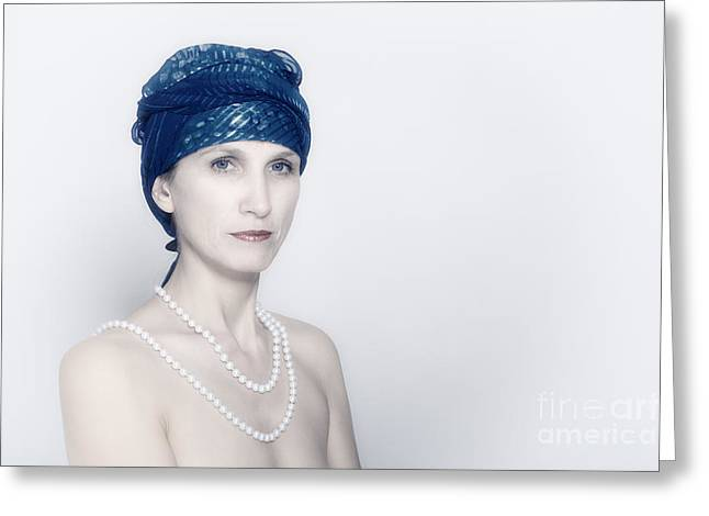 Shiny Necklace Greeting Cards - Woman With Pearls Greeting Card by Aleksey Tugolukov