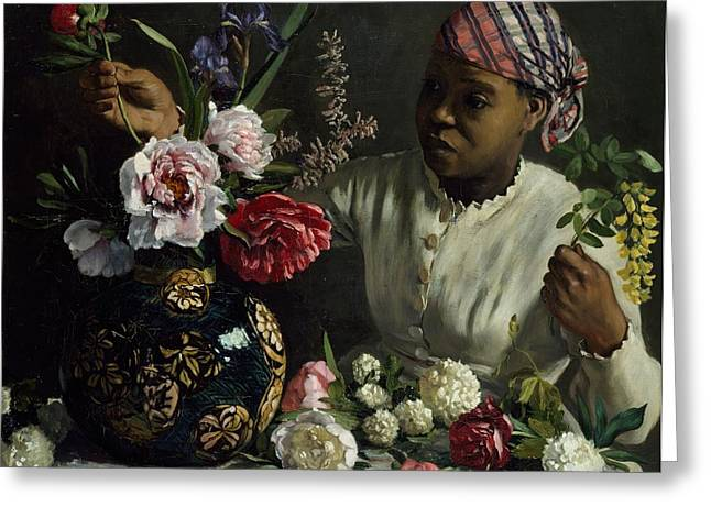 African Greeting Greeting Cards - Woman with Peonies Greeting Card by Frederic Bazille