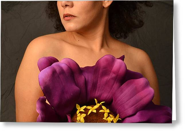 Woman with Purple Flower Greeting Card by Timothy OLeary