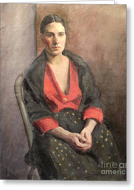 Hair Pulled Back Greeting Cards - Woman with Read Blouse 1929 Greeting Card by Art By Tolpo Collection