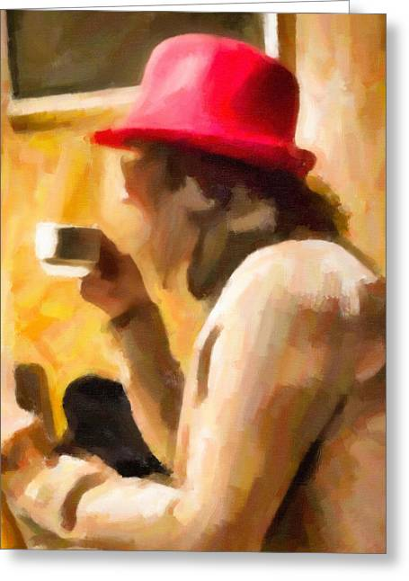 Coffee Drinking Greeting Cards - Woman With Red Hat Greeting Card by Christian Stops