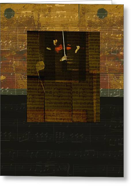 Classical Gold Mixed Media Greeting Cards - Woman with Red Violin Greeting Card by Ann Powell